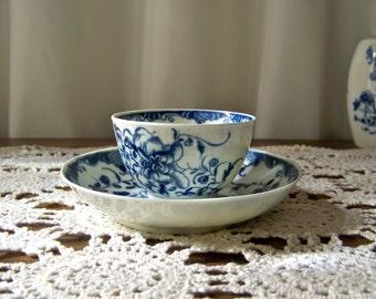 Antique Dr Wall Porcelain Tea Bowl and Saucer circa 1785 Worcester Porcelain Flight Period 18th Century English Porcelain