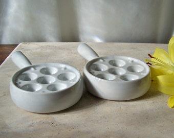 Vintage Porcelain Escargot Pans Escargot Preparations Pan France Kitchenware ca. 1994