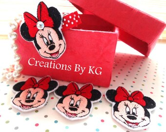 FAVORITE Girl MOUSE - Embroidered felt embellishment  / Appliqués  Listing for 3 - Ready to ship