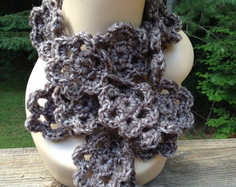Taupe Print Flower Scarf