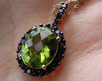 Lime Green Peridot and Black Diamond Pendant set in 10K Yellow Gold w/ Chain Necklace