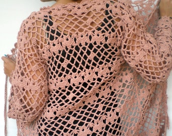 Long  Lace Garden Cardigan Trendy Pinky Beige Hand Crocheted Woman Sweater Tunic  Cardigan NEW