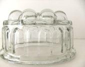 SALE Vintage Glass Jelly Mould / Vintage Jello Mould / Blancmange mould, 1 Pint Mold, Half litre mould