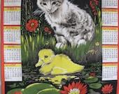 RESERVED  Fabric Calendar 1971 . Cat design dish towel 19x24.5 inches