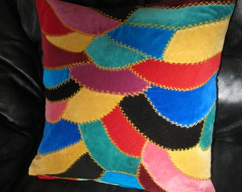 Crazy Quilt Multicolored Velvet  Pillow Cover  Handmade, Embroidered,  18x18 inches cushion cover.