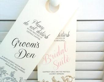 Wedding Door Signs - Set of 2 Bride and Groom door hangers / His and Hers / Vintage Appearance