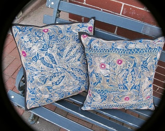 """Pair Patchwork Pillows, Vintage Cushion Covers Recycled from Sequin Sari, Turquoise-16""""sq"""