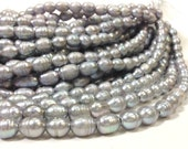 10 to 11 mm Grey Pearl Large Hole Freshwater Pearl Rice Beads with rings - Gray 3 mm hole (G4335G65)