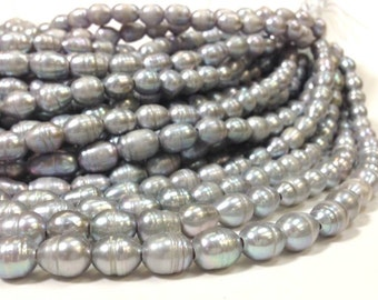 10 to 12 mm Large Hole Freshwater Pearl Rice Beads with rings - Gray 2.5 mm hole (G4335G58)