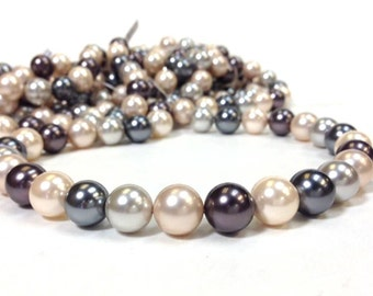 AA Grade South Sea Shell - Mother of Pearl - 12mm Smooth Round Beads 16 Inch strand - Multi Mix Color (G3815R24)