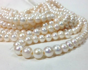 15.5 inch 10 mm Large Hole Freshwater Pearl Potato Beads - White 2 mm hole (G3946W78)