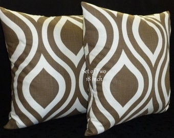 Decorative Accent Throw Pillow Covers - Two 18inch Taupe and White