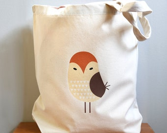 Canvas tote bag with Owl. 10oz cotton.