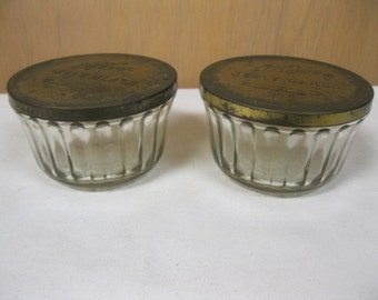 Kerr Jelly Glass Set of Two With Lids Marked 553 Vintage Early Farmhouse Canning Jelly Jars Shabby Chic Find Use, Collect, Store, Display
