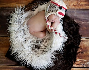 Crochet Monkey Hat - Newborn to Adult - You Choose Colors and Size - Made to Order