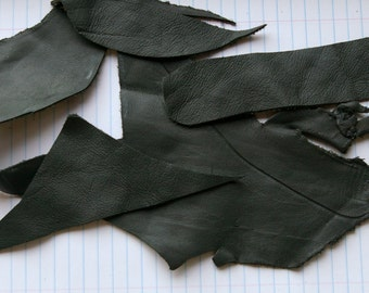 Forest Green Leather Scraps