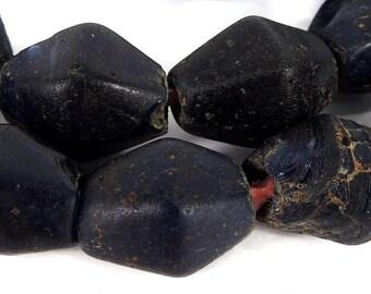 Ban Chiang Ancient Glass Beads Cobalt Blue Thailand 83795