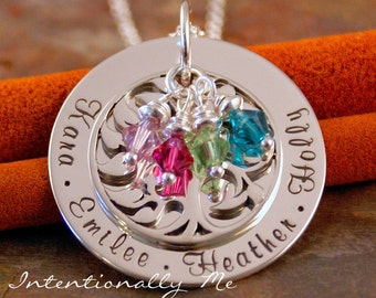 Hand Stamped Mommy Necklace - Personalized Jewelry Sterling Silver Family Tree Pendant - My Family