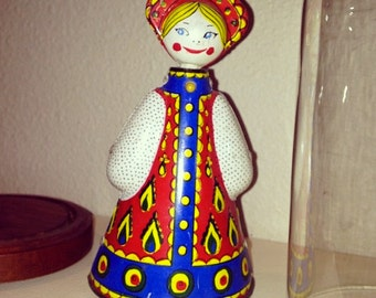 Russian Vintage Windup Doll With Key, Works Perfectly, Great Condition U.S.S.R.
