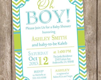 Oh Boy Baby Shower Invitation, lime and teal, chevron baby shower invitation, typography, boy baby shower invitation, printable, digial file