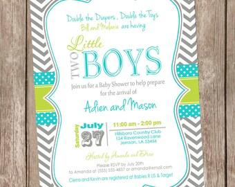 Twin boys baby shower invitation, chevron baby shower invitation, teal and lime invitation, gray, twins baby shower, two little boys  ttl1