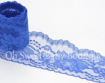 "3"" Floral Lace Royal Blue 3 Yards"