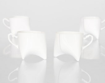 Ceramic cups set of four- white porcelain mugs, contemporary ceramic cups handmade coffee cup or tea cup by Endesign