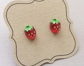 Strawberry Earrings, fruit earrings, hypoallergenic on titanium posts