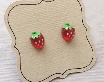 Strawberry Earrings, fruit earrings, hypoallergenic on titanium posts