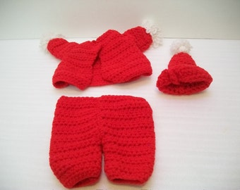 Handmade Doll Santa Suit, Crochet Santa Suit, Doll Clothes, Doll Supplies, Doll Parts, Crochet Doll Outfit to Finish, 3 piece Doll Outfit