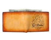Custom Leather Wallet - Mens Wallet - Credit Card Wallet - Harry Potter Gryffindor