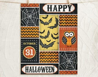 Happy Halloween- 12x16 Art print  -Fall Halloween Decor-Spider Webs, Bats, Pumpkins, Star-Pattterns-Black,Yellow,Orange,White