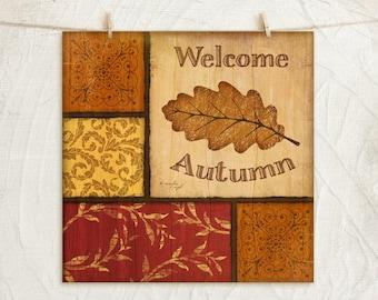 Fall Leaves - 12x12 Art Print - Fall Decor, Halloween, Holiday, Wall Home Art Decor - Leaves -Orange, Gold, Yellow, Red, Tan, Black