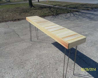 "industrial  and steel console coffee table  60"" by 14"" hairpin legs eames"