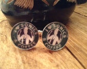 Sonics & Coffee DOCTOR WHO  CUFFLINKS silverplated Perfect for your hubby, dad, son, or wedding