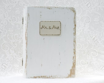 MRS and MR personalized ring pillow wedding ring box book white gold color