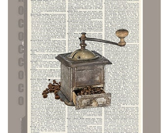 Antique coffee grinder - print on vintage dictionary page, vintage dictionary art print, wall art prints, up cycled book page