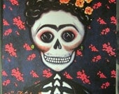 Frida - Original Art by Karina Gomez - Mouse Pad - Frida Kahlo - Day of the Dead - Mexican Folk Art