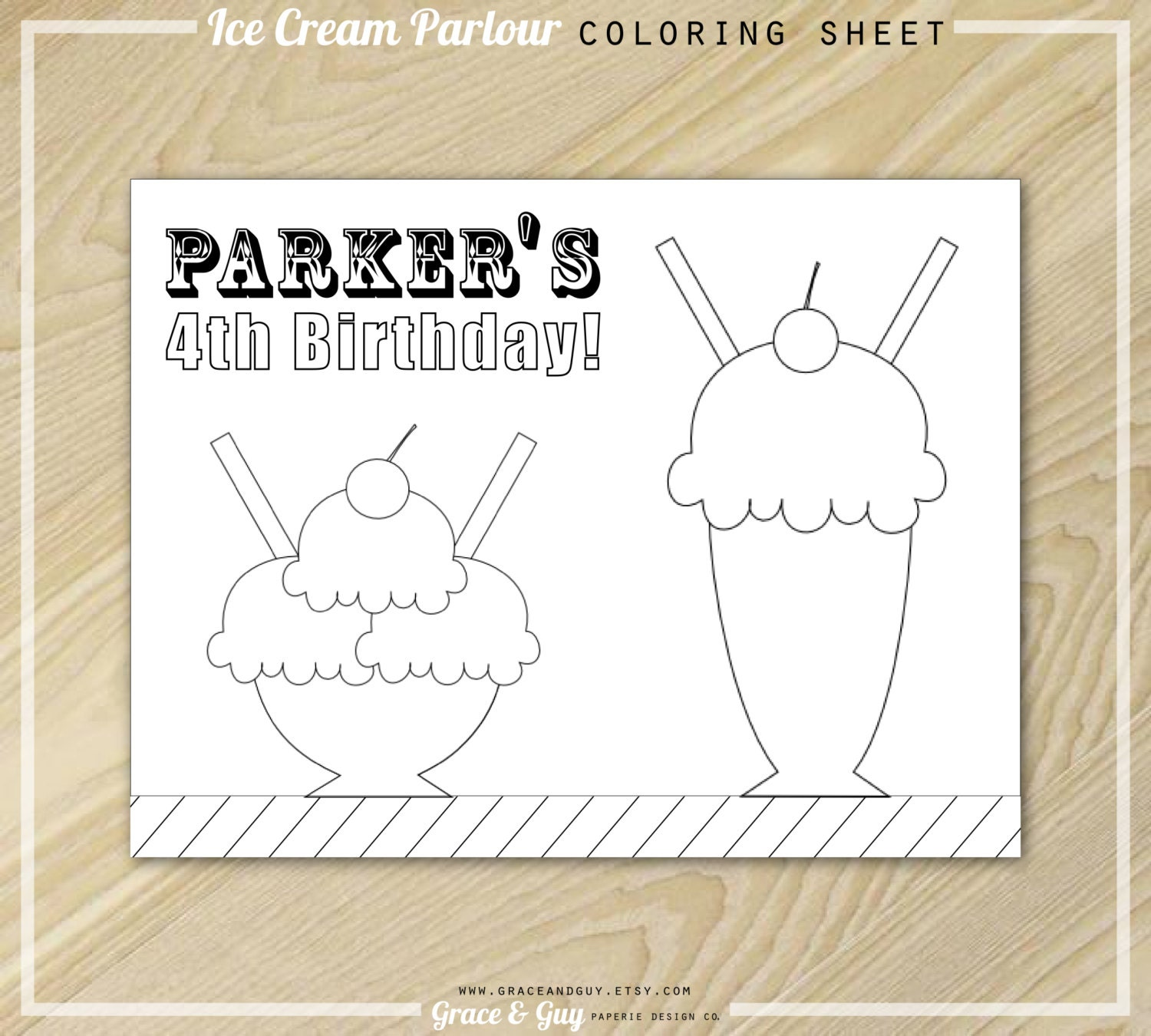 Ice Cream Party Coloring Page Ice Cream Birthday By