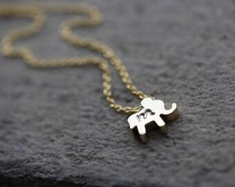 Custom Elephant Initial Necklace,Gold Elephant Monogram Necklace, Lowercase Monogram Necklace, Personalized Elephant Necklace, Gold Elephant
