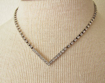 Vintage Chevron Clear Rhinestone Necklace, simple rhinestone necklace