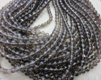 Smoky Football or balls shape faceted rondelle beads, 7-8 mm 45 pieces    AAA quality