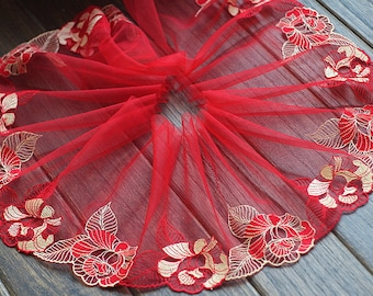 2 Yards Lace Trim Exquisite Red Gold Flower Embroidered Tulle Lace 6.29 Inches Wide High Quality
