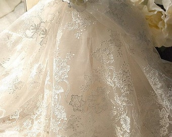 Ivory Alencon Lace Fabric Embroidered Wedding Lace Fabric Dress Coat Fabric 51 Inches Wide 1/2 Yard
