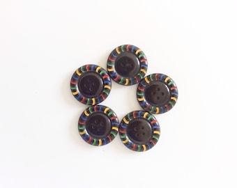 5 Vintage Black Painted Buttons, Stripes, Bakelite