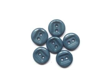 6 Blue Vintage Buttons, Blue Buttons, Grey, Plastic