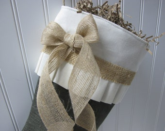 Green and Natural burlap stocking