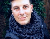 Chunky Extra Wide Infinity Scarf, Navy Blue Winter Fashion Accessories