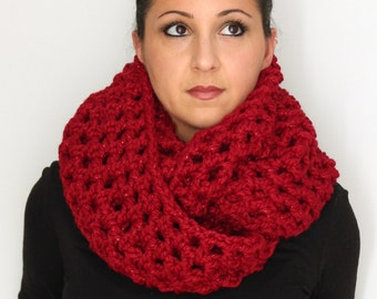 Sparkle Red Oversized Chunky Infinity Scarf,  Fashion Accessories from Midwest Crochet