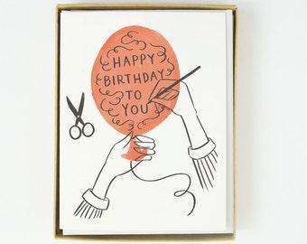 Happy Birthday Balloon Card 10pcs